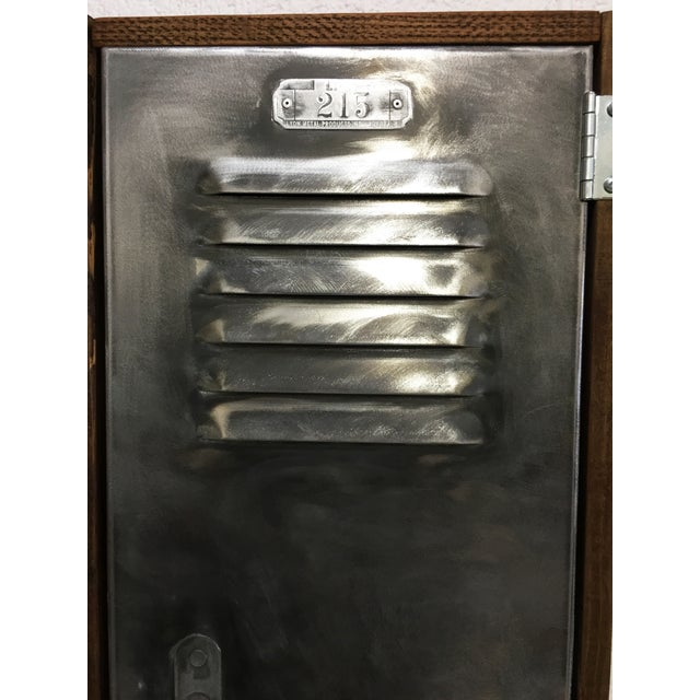 Industrial Wood & Brushed Metal Wall Cabinet - Image 6 of 6