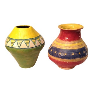 Colorful Handmade Ceramic Vases - a Pair