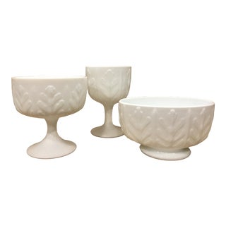 1970s Vintage FTD Milk Glass Planters - Set of 3 For Sale