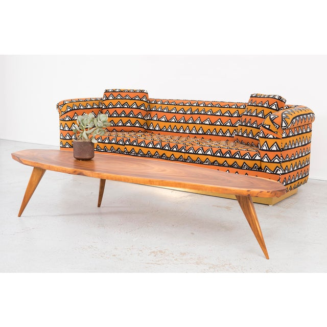 Rounded Barrel Back Brass Platform Sofa Reupholstered in African Mud Cloth - Image 10 of 11
