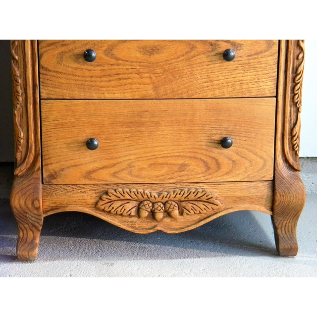 Carved Oak Nightstands - A Pair - Image 4 of 7