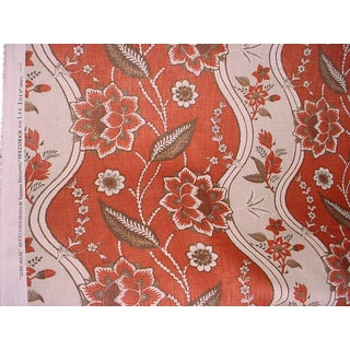Lee Jofa Gore House French Floral Linen Print Upholstery Fabric- 7-1/4 Yards For Sale