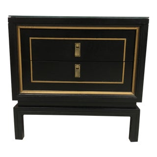 Mid-Century Modern Black & Gold Lacquered Hollywood Regency Nightstand For Sale