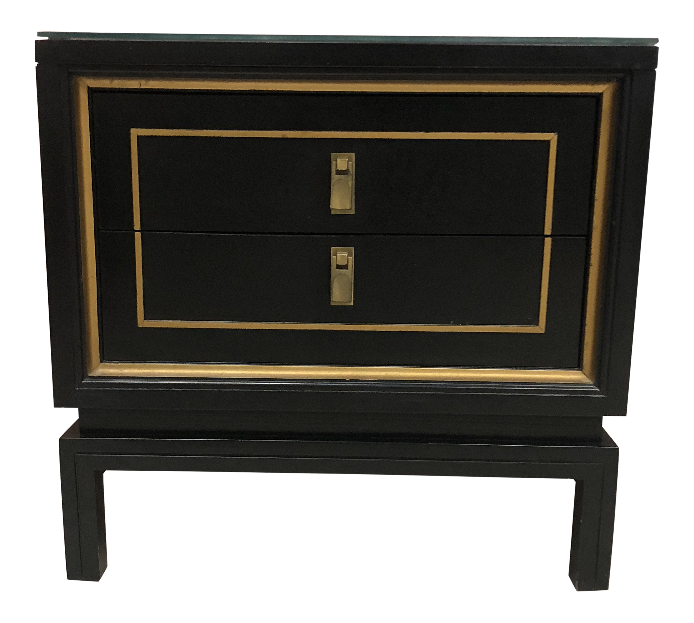 Mid Century Modern Black U0026 Gold Lacquered Hollywood Regency Nightstand
