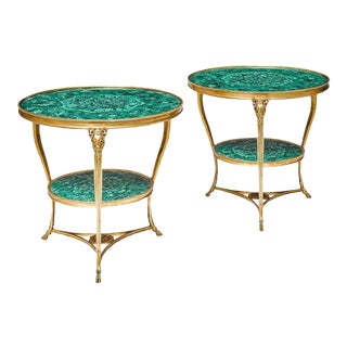 Early 19th Century Louis XVI Style Gilt Bronze and Malachite Gueridon Tables - a Pair For Sale