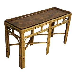 Italian Burl & Bamboo Console Table For Sale