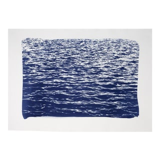 Blue Waves Seascape, Cyanotype Print on Watercolor Paper,Limited Serie, Handmade 50x70 cm For Sale