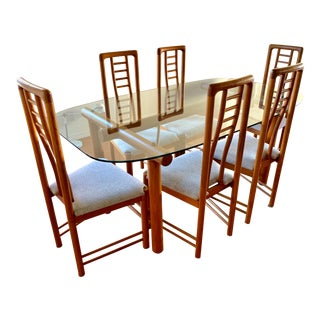 Danish Modern Teak Dining Set Glass Table With Eight Chairs For Sale