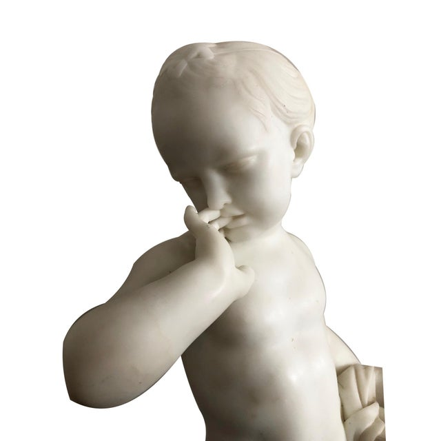 Charles Antoine-Bridan Marble Child With Bird's Nest Sculpture For Sale - Image 4 of 7