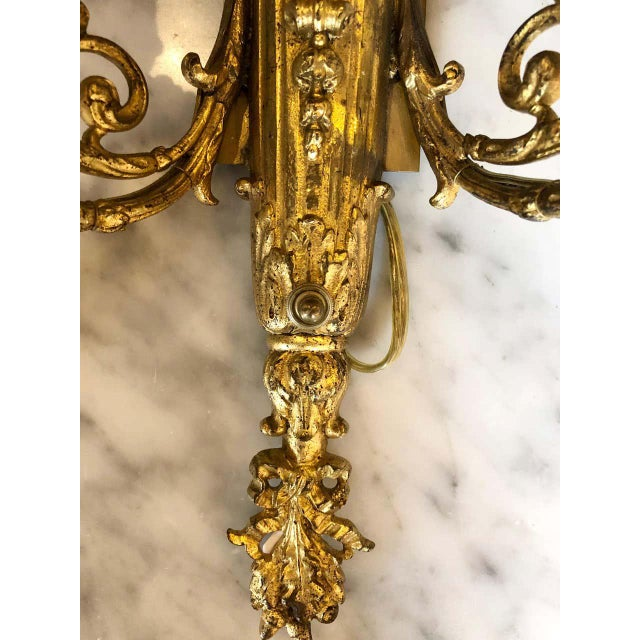 Brass Pair of English Adam Style Brass Dore Wall Sconces Two-Light Arms For Sale - Image 8 of 11
