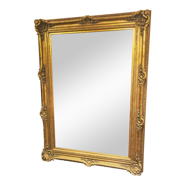 Louis XIV Style Gold Leaf Beveled Glass Mirror For Sale