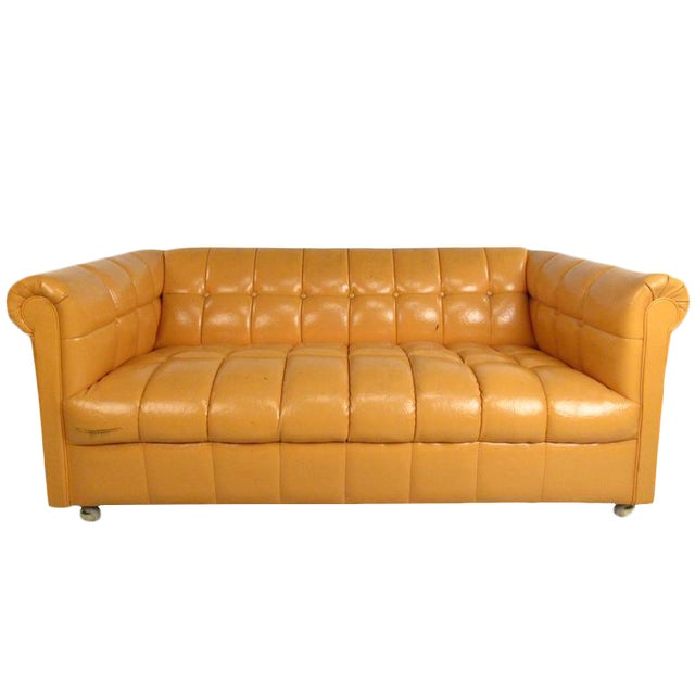 Mid-Century Modern Tufted Chesterfield Sofa For Sale