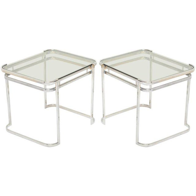 Pair of Italian Mid-Century Modern Chrome Side Tables For Sale - Image 12 of 12