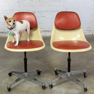 Eames Herman Miller Pscc-A-4 Pivoting Task Shell Chair Pair on Contract Base W/Casters Preview
