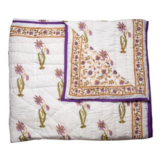 Florence-Gina Reversible Quilt, Queen - Lilac & Green For Sale