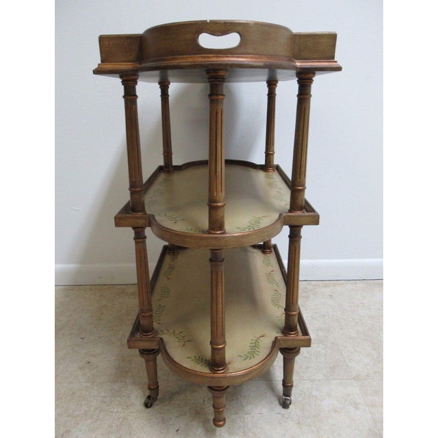 Paint Neoclassical 3 Tiered Paint Decorated Lamp End Table For Sale - Image 7 of 9