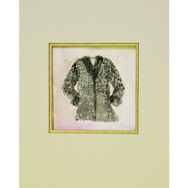 Black Furry Coat Watercolor For Sale
