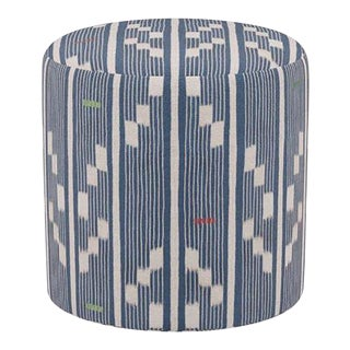 Drum Ottoman in Linea Ikat For Sale