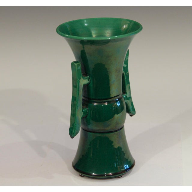 Chinese Antique Awaji Pottery Arts & Crafts Green Gu Monochrome Vase For Sale - Image 3 of 9