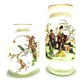 20th Century Japanese Hand-Painted Satin Glass Vases - a Pair For Sale