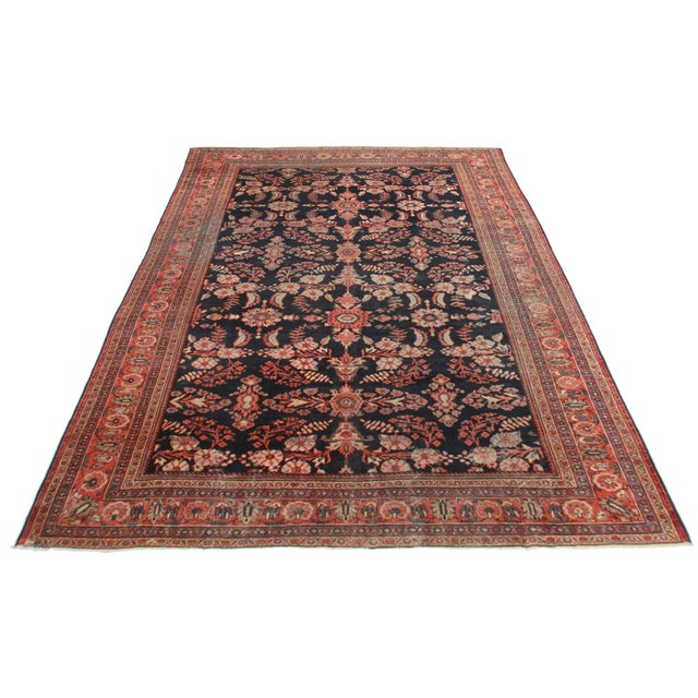 Antique Hand Knotted Wool Persian Mahal Rug. Floral design. Great for any spot in your home or office! 10′4″ × 13′7″.