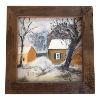 French Original Oil Painting Landscape, Yellow House in Winter After Pissarro For Sale