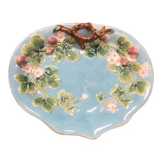 Antique George Jones & Sons Blue Majolica Strawberry Platter For Sale