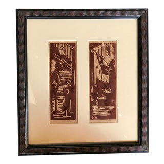 """""""Jazz Players"""" Woodblock Prints by Pat Hammond For Sale"""