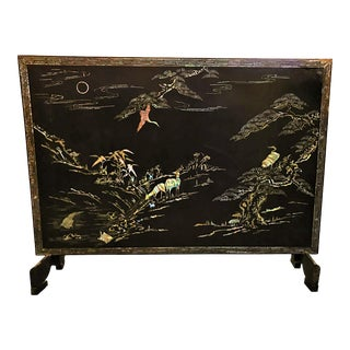 Asian Black Lacquer and Mother-Of-Pearl Inlay Fireplace Screen For Sale