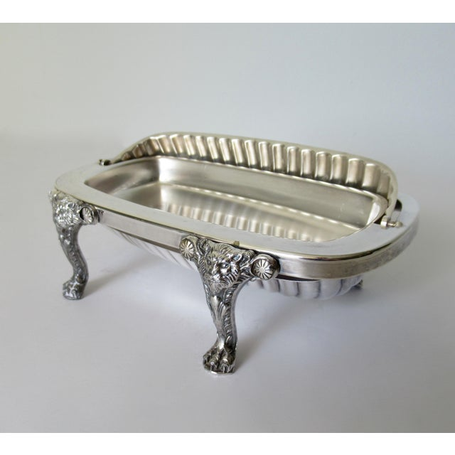 Copper Wm. Rogers Silver Plate Platform Claw Footed Domed Butter Dish -2 Pieces For Sale - Image 7 of 13