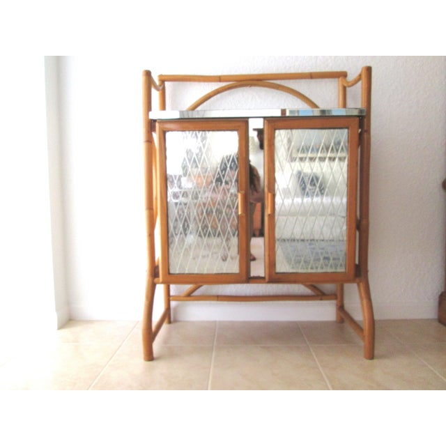 Mid Century Bamboo Mirrored Bar Cabinet - Image 2 of 11