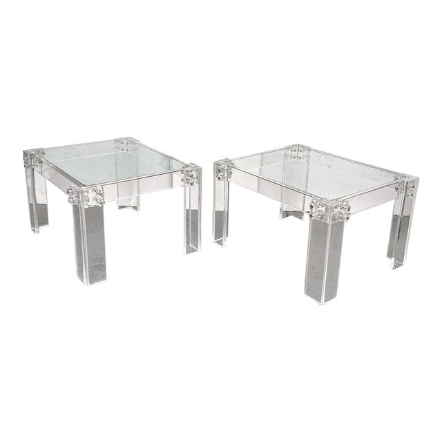 Mid-Century Modern Lucite Side/Cocktail Tables With Glass Tops - a Pair For Sale