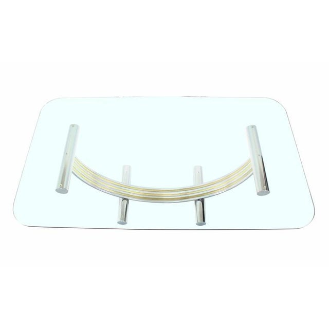 Thick Glass Top Dining Conference Table in Romeo Rega Style For Sale In New York - Image 6 of 7