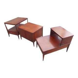 1960s Mid-Century Modern Broyhill Saga Living Room End Tables - Set of 3 For Sale
