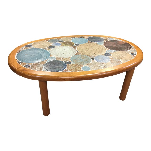 Tue Poulsen Danish Modern Teak & Ceramic Coffee Table For Sale