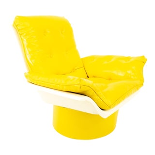 Furtimo Mid Century Yellow Chair With Base For Sale