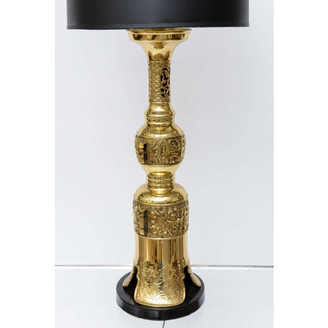 Hollywood Regency Brass Table Lamp in the Style of James Mont - Image 5 of 9