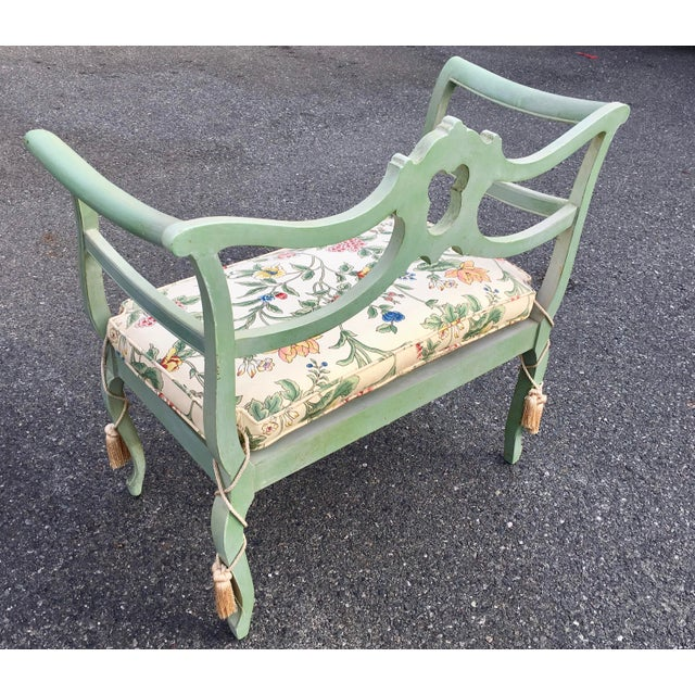 **Final Price** Antique Green French Provincial Carved Wood Small Bench Settee For Sale - Image 9 of 11