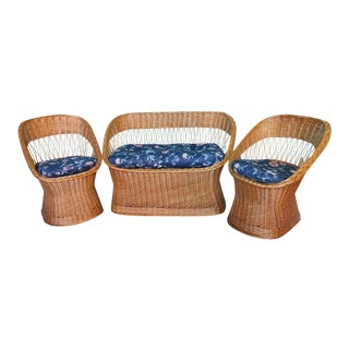 1970's Wicker Rattan Seating Set - 3 Pieces For Sale