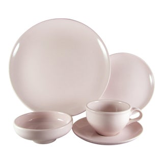 1950s Russel Wright Iroquois Casual Pink Sherbet Service for 6 Dinnerware - 30 Piece Set For Sale