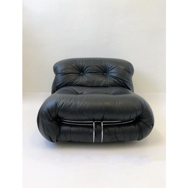 Black Leather and Chrome 'Soriana' Sofa Set by Scarpa for Cassina - 3 Pc. Set For Sale - Image 10 of 11