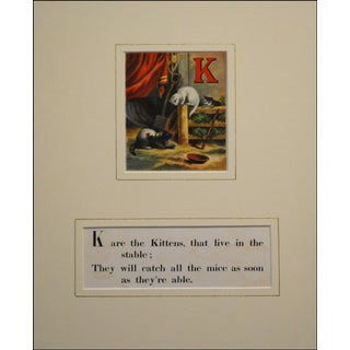 Kitten Alphabet, 1870s Lithograph For Sale