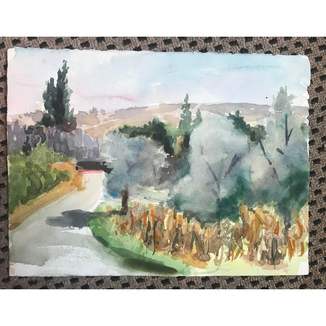 Impressionism 1980s European Watercolor Landscape Painting For Sale - Image 3 of 3