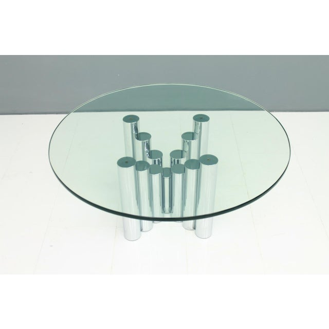 Modern Coffee Table in Chrome & Glass 1970s For Sale - Image 10 of 11
