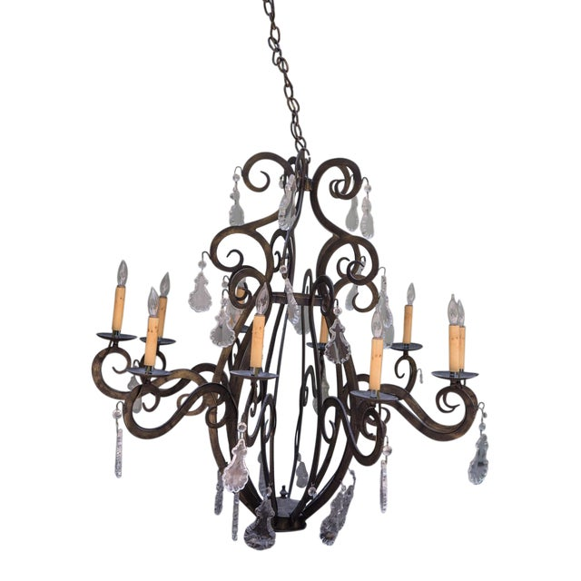 Large Iron Chandeliers With Crystal Pendalogues - Image 1 of 7
