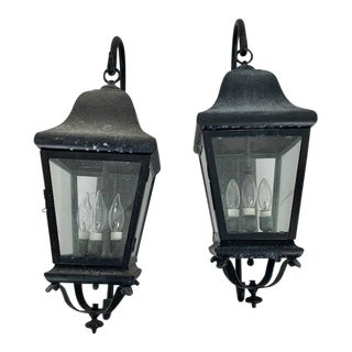 Coach 3 Light Cluster Outdoor Lanterns - a Pair For Sale