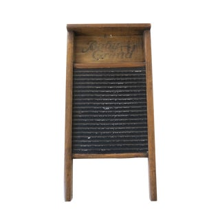 Vintage Baby Grand Wood Metal Laundry Wash Board For Sale