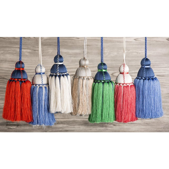 Reinventing the classic tassel in a modern way. Made from soft nylon threads, this striking tassel features coral and...
