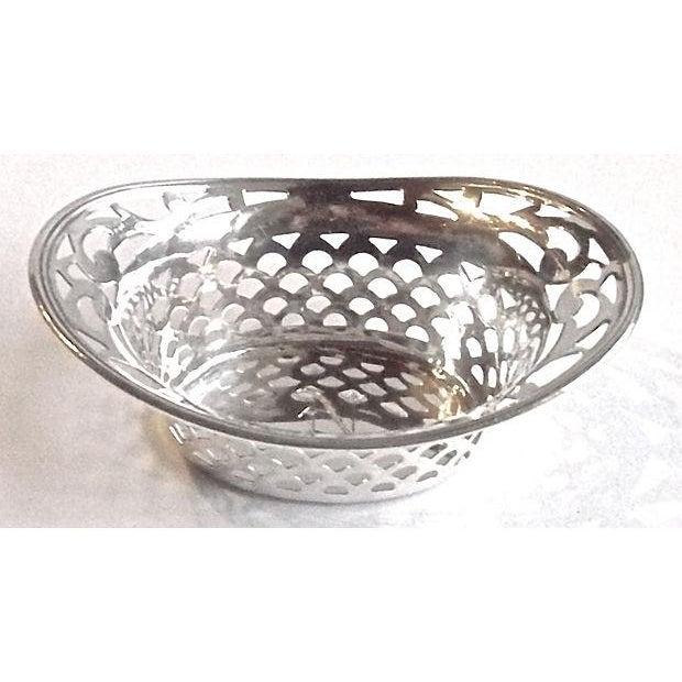 Vintage, pierced, sterling silver, salt dish with engraved monogram. Pierced scallop design. Condition: minor tarnish...
