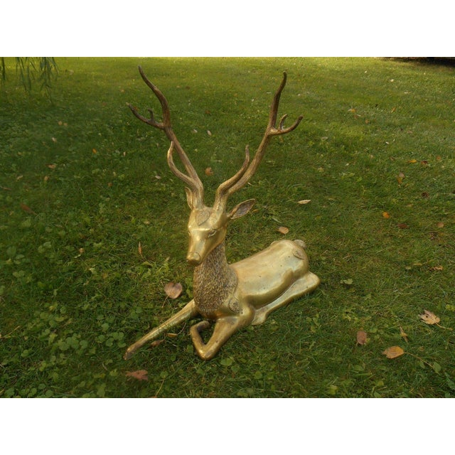 Mid-Century Stag Deer Brass Statue - Image 2 of 8